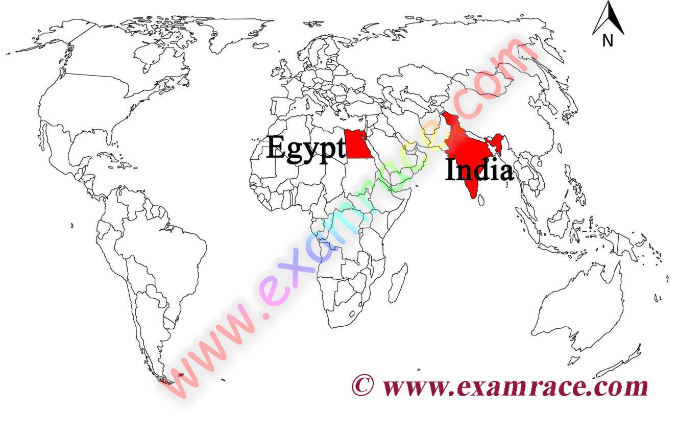 Location of India and Egypt