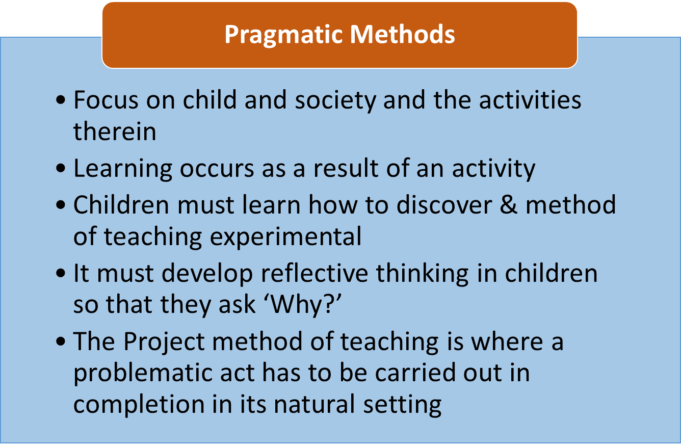 Methods by Idealism, Naturalism & Pragmatic Methods