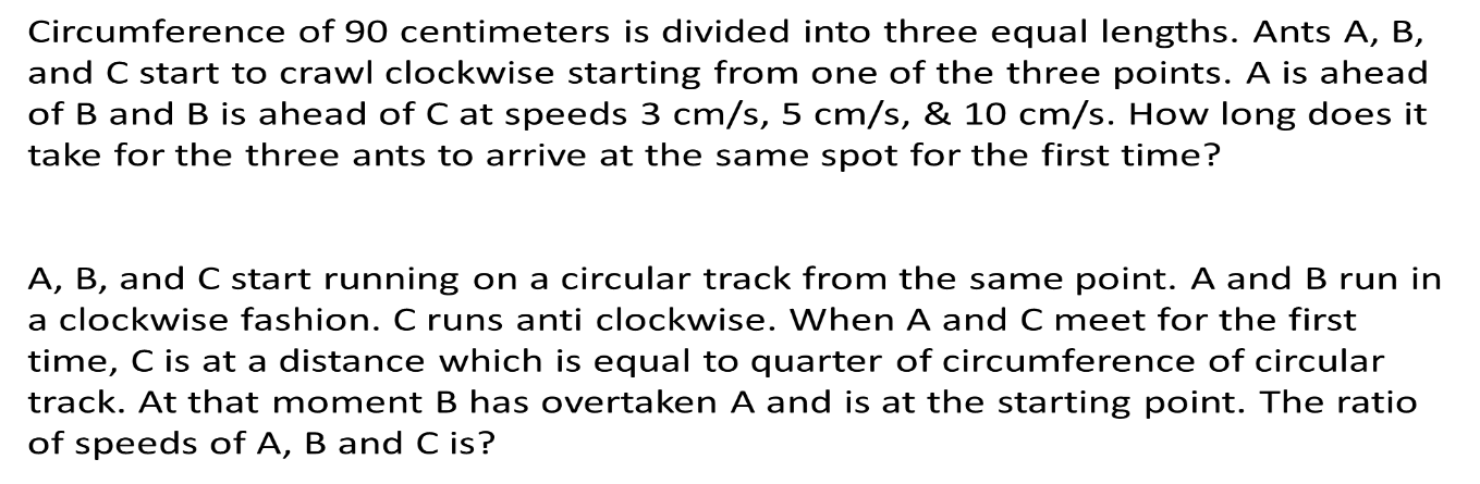 Complex problems on circular tracks: Discussed in next class