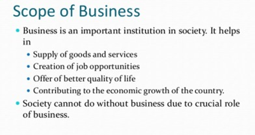 Image shows the scope of Business