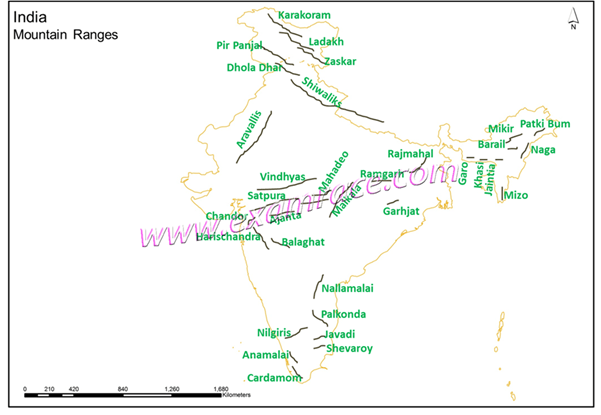 Image of India Mountain Ranges
