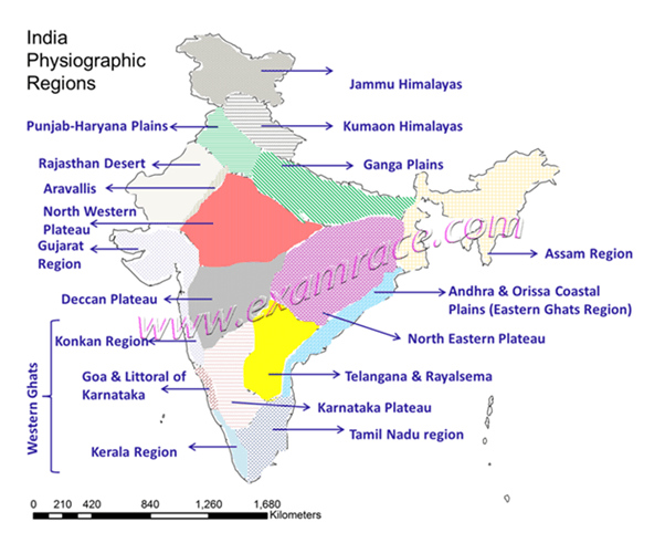 Image of India Physiographic Regions