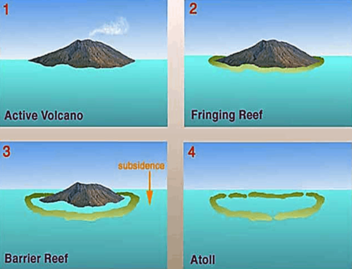 Developing volcano into an atoll