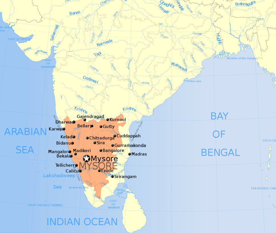 Detailed Map of Mysore Empier