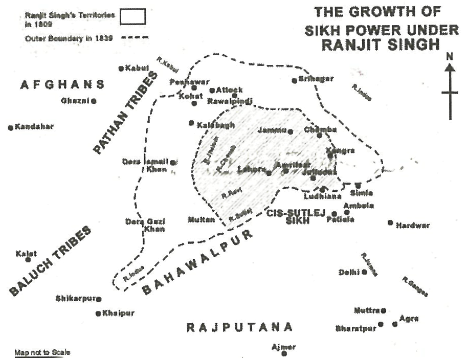 Detailed Map of Ranjit Singh Empier