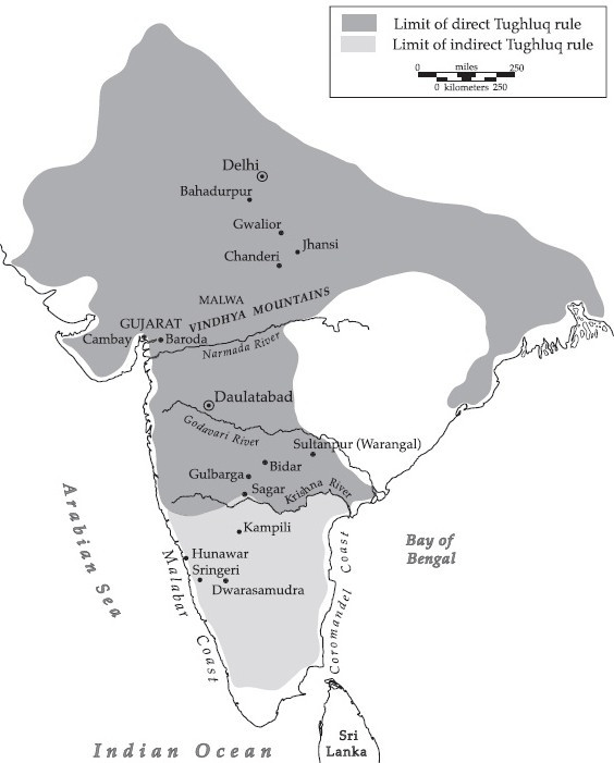 Detailed Map of Mohammad Bin Tughlaq empire