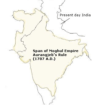 Map of Expanded Empier of Moghul by Aurangzeb