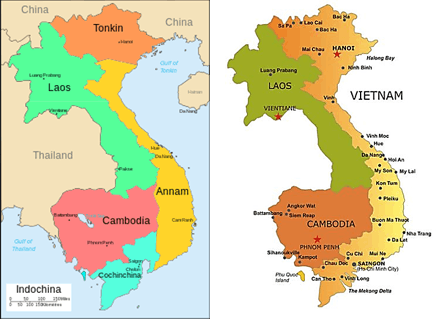 Image of Indo-China included Vietnam, Laos and Cambodia. Many people lived in this area under shadow of China