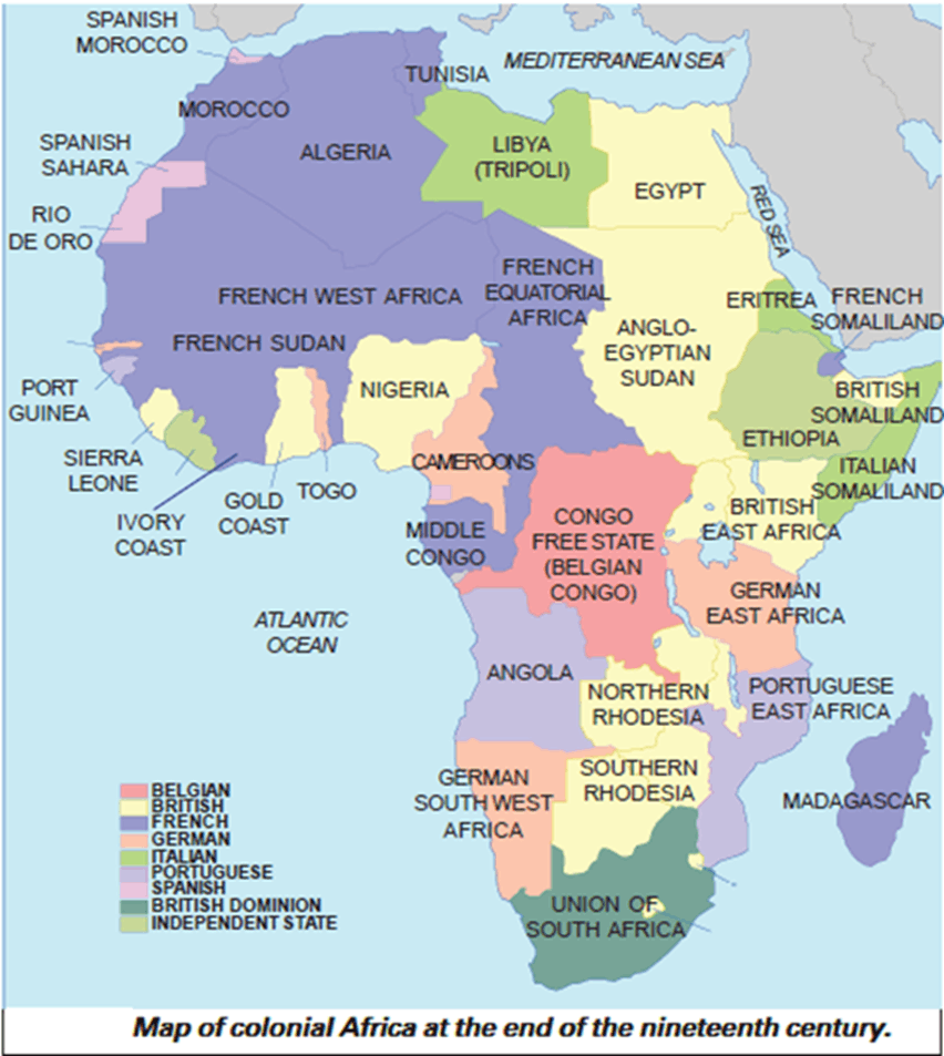 Map of colonial Africa at the end of the nineteenth century