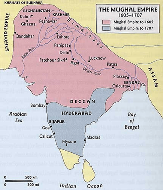 Image of Specify Mughal Empire In Map