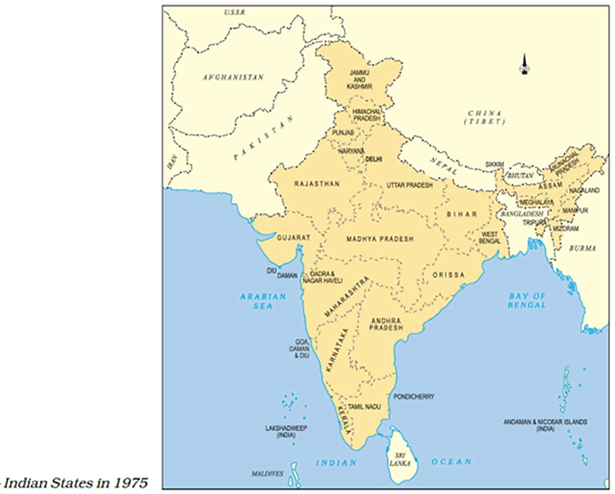 Map of Indian States In 1975