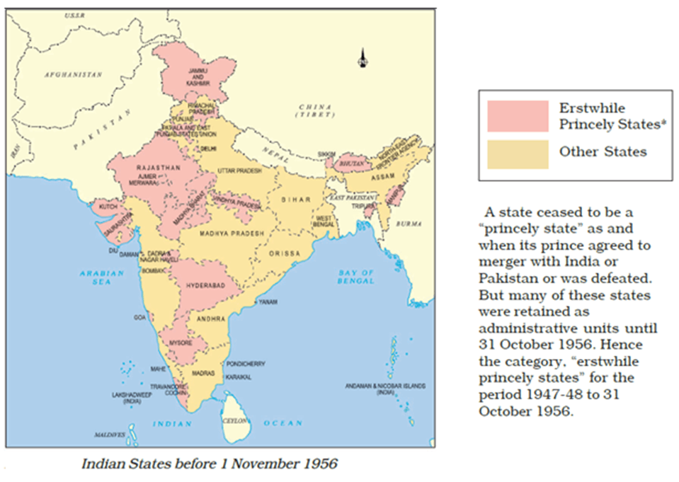 Map of indian states 1 november 1956