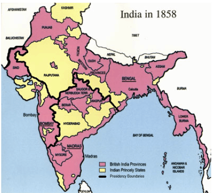 Map of India During 1857 Revolt