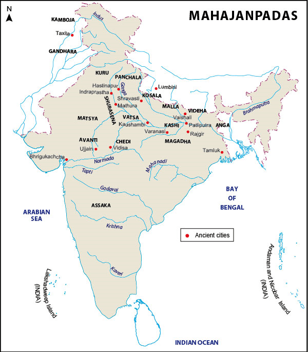 Detaild map of area of Mahajanapadas