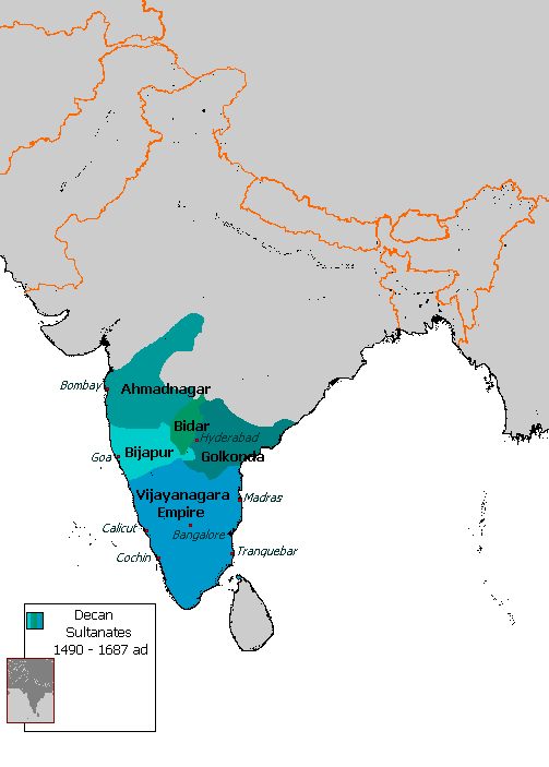 Detaied map of Barid Shahi Dynasty