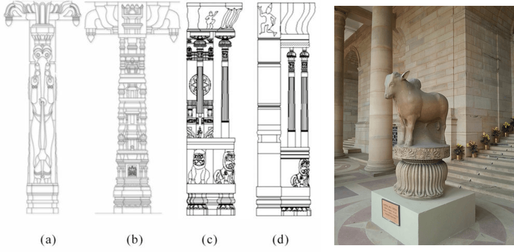 Image of lotus columm bull and design of Pillar