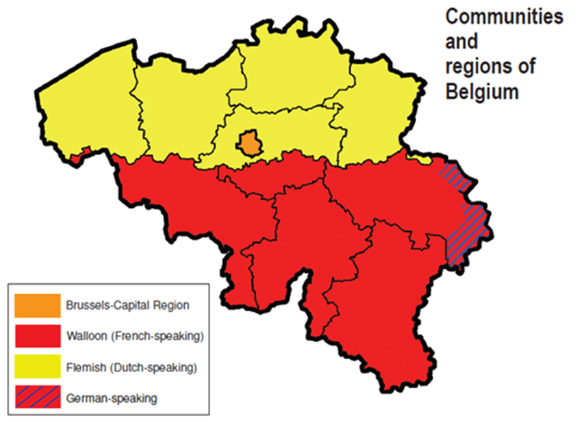 Map of Communities and regions of Belgium