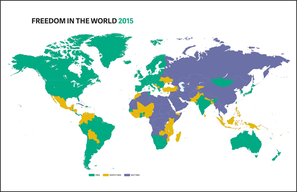 Map of Freedom In The World 2015