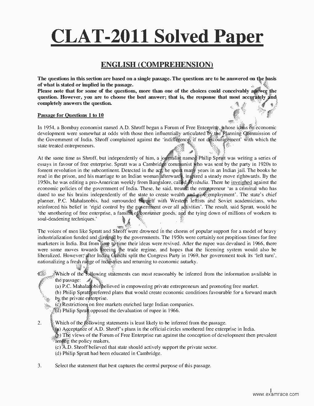 CLAT Solved Paper 2011- Translation in Hindi, Kannada, Malayalam