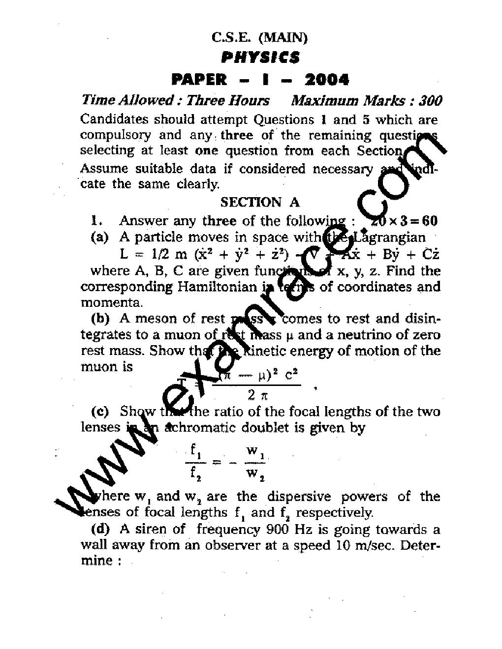 IAS Mains Physics 2004- Translation in Hindi, Kannada