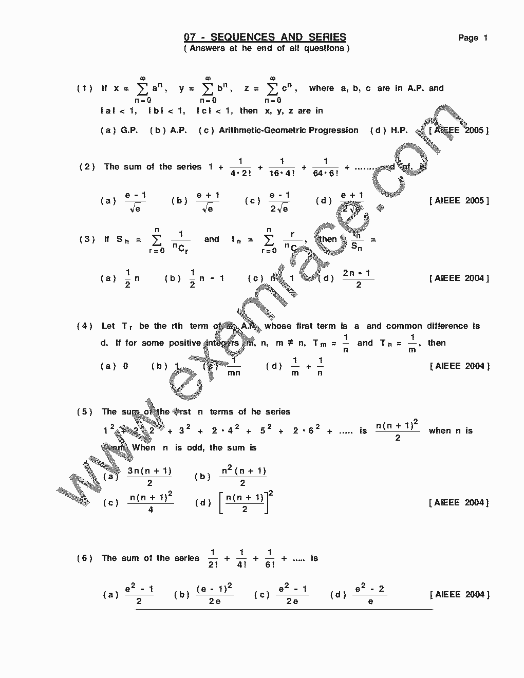 Mathematics Sequence Series MCQ- Translation in Hindi, Kannada