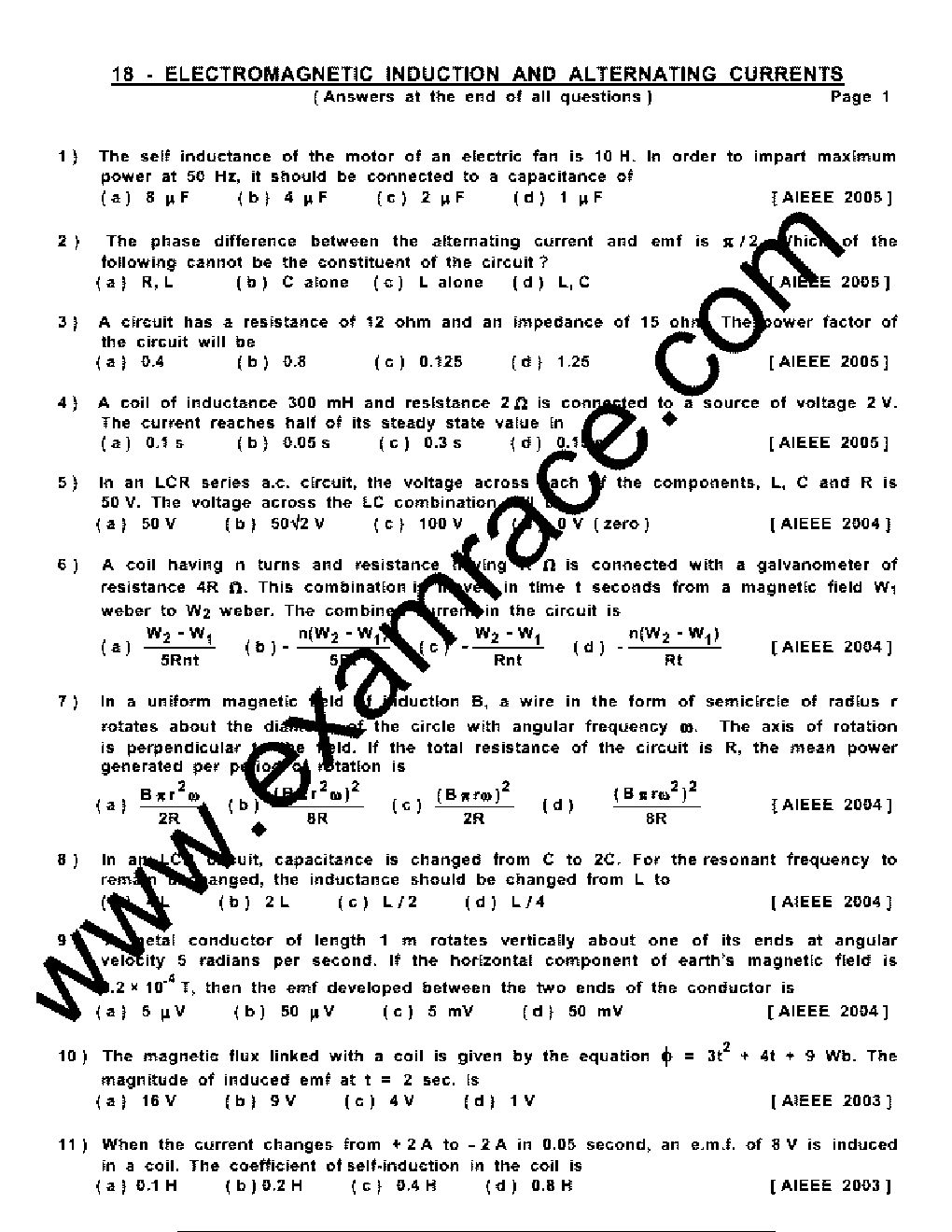 Physics ElectroMagnetic Induction MCQ- Translation in Hindi, Kannada