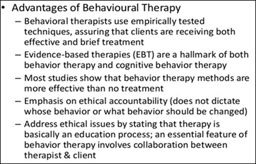 Contributions of Behavior therapy