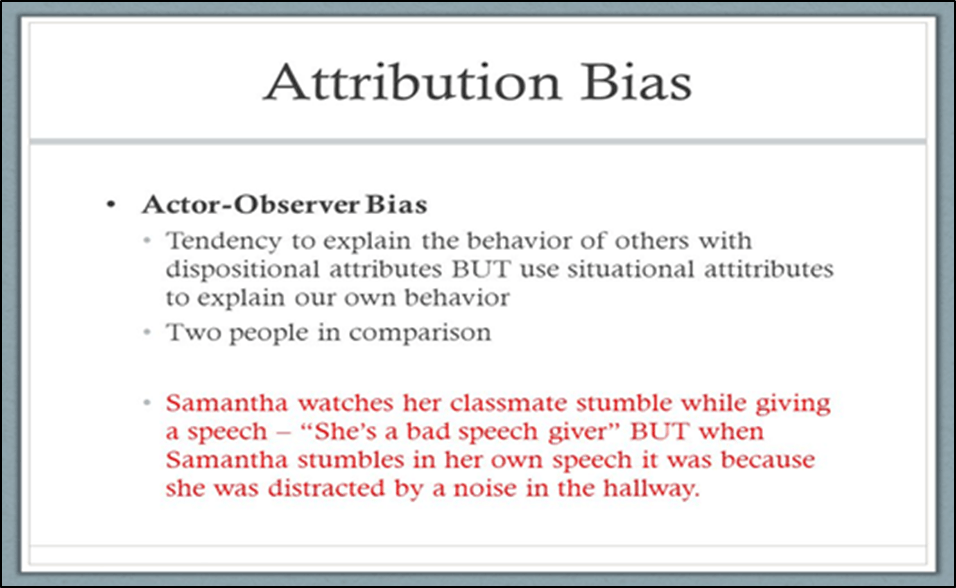 Actor-Observer effect from Self-Serving Bias
