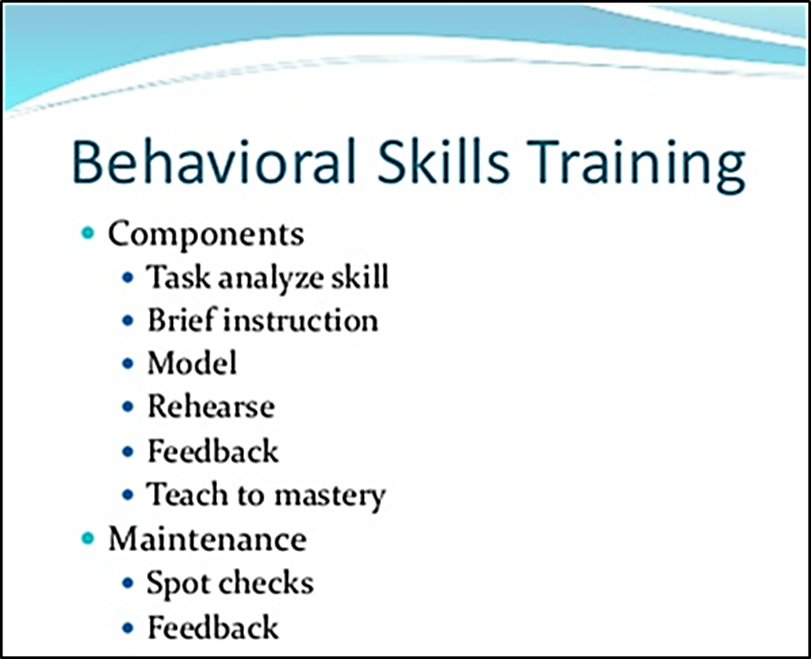 Components of Behavioral skills training