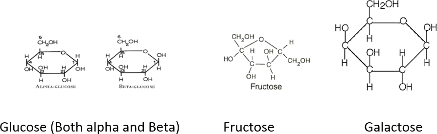 Image of Glucose, Fructose and Galactose