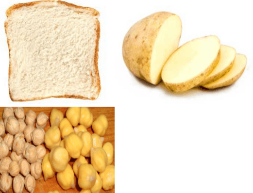 Image shows three types of food material