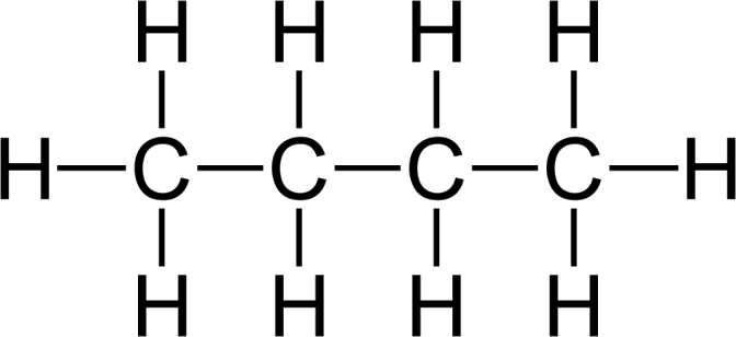 Image of the chain structure of heptane