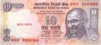 A note of 10 rupees of India