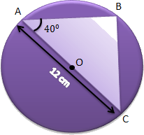 A circle having a triangle on half part