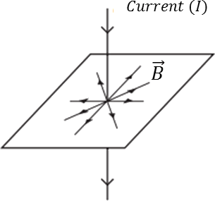 A current carrying wire passing through plane. (Choice c)
