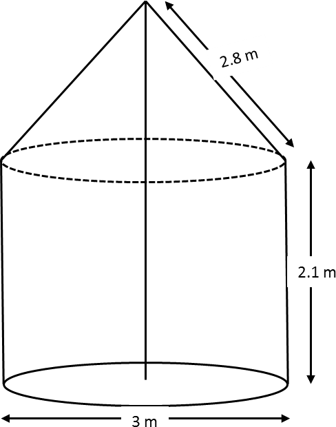 A tent is in the shape of a cylinder