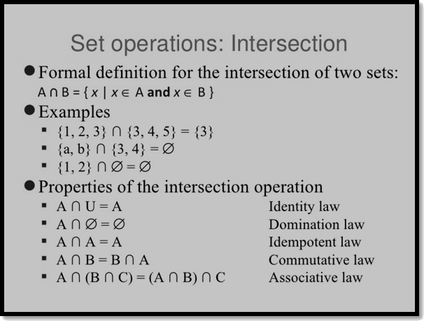 In figure set operations: Intersection are given.