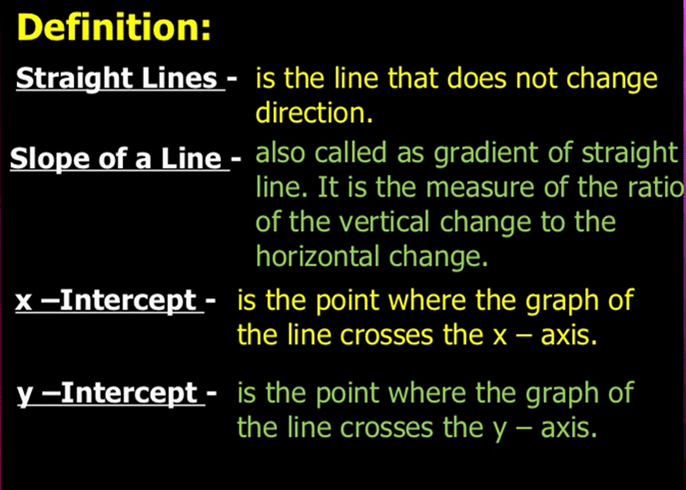 Definition of straight line, slope of a line, x-intercept, y- intercept