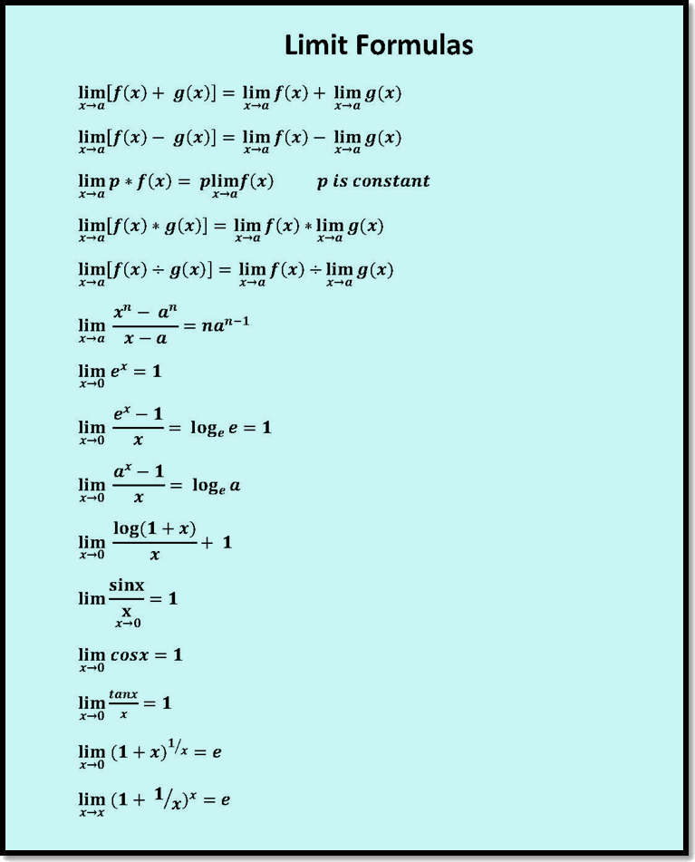 In figure limit formulas are given.