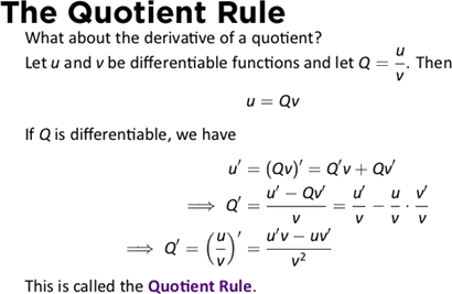 The Quotient Rule with formula