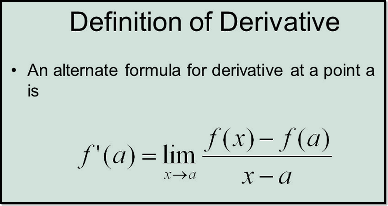 In image defination of derivative is shown.