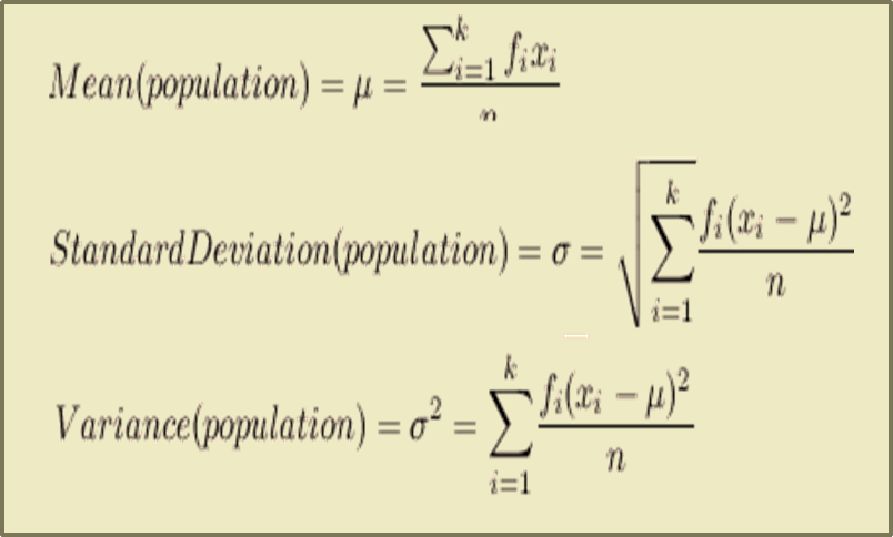 In figure formula of Mean, Variance and Standard Deviation i …
