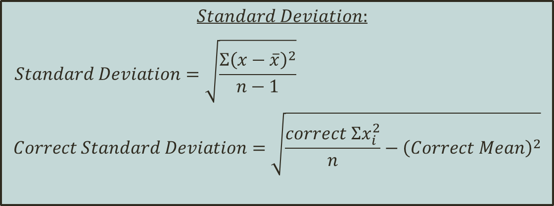 In image standard deviation formulas are shon.