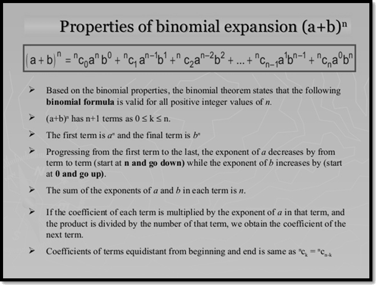 Properies of binomial expansion