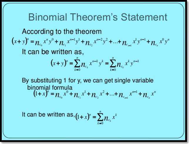 Binomial Theorem's Statement