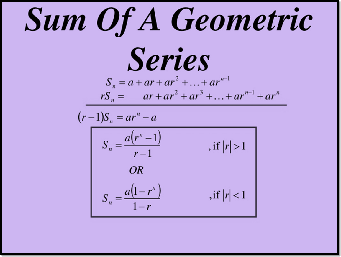 In figure sum of geometric series is shown.
