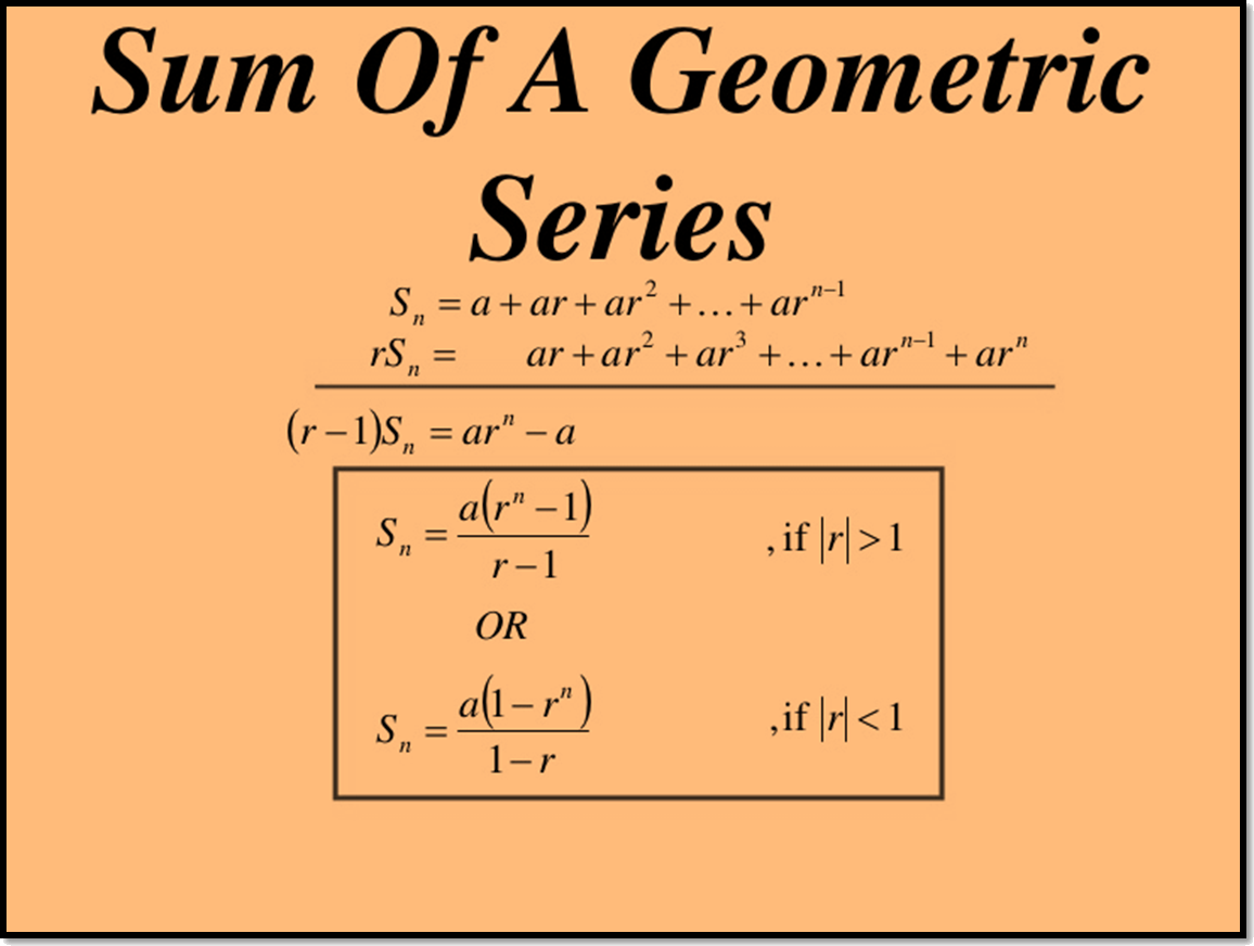 In figure sum of a Geometric Series is shown.
