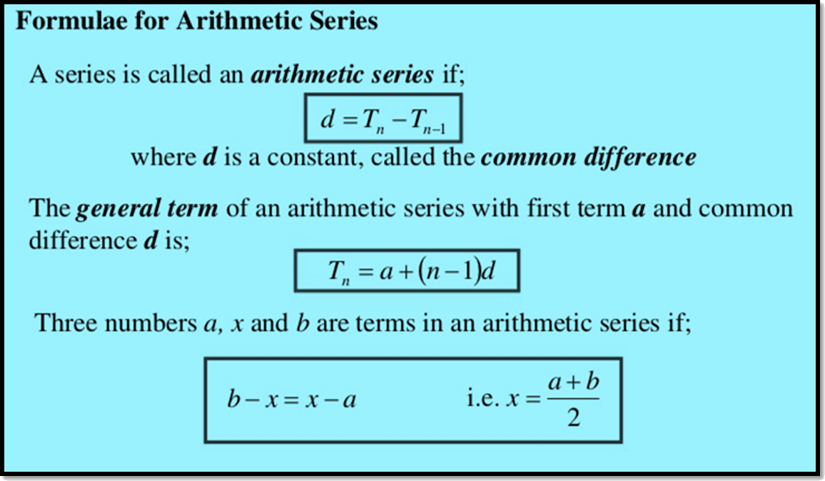 Formulae for Arithmetic Series
