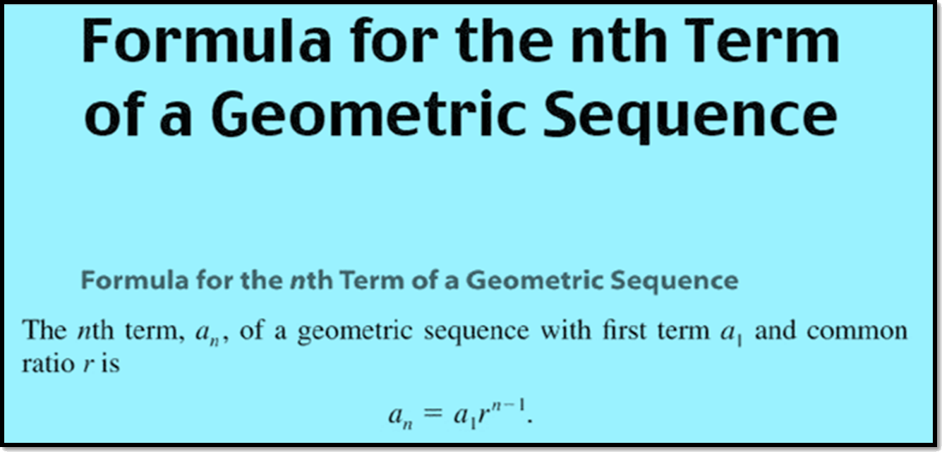 Formula for the nth term of a Geometric Sequence