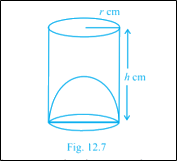 A cylindrical vessel with a hemispherical portion